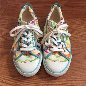 Coach Barrett 7 Cream Canvas Rainbow C Logos Shoes